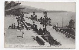 (RECTO / VERSO) MONTE CARLO EN 1914 - N° 1258 - LES TERRASSES DU CASINO ANIMEES - LE CAP MARTIN - TIMBRE DE MONACO - CPA - Monte-Carlo