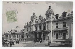 (RECTO / VERSO) MONTE CARLO EN 1914 - LE CASINO ANIME - CACHET AMBULANT TRI FERROVIAIRE - TIMBRE DE MONACO - CPA - Monaco