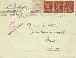 """1915 - Lettre De Grenoble Affr. Bande De 3 N° 147 Avec Censure """":ouvert Par ...."""".. Pour BERNE ( Suisse ) - Marcophilie (Lettres)"""