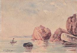 Huile Sur Papier. Marine, Signée A. DE BEC, Datée 1893. Pêcheur, Barque Rochers. - Oils