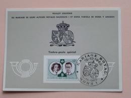Souvenir De MARIAGE Van BOUDEWIJN En FABIOLA De Mora Y Aragon - Anno 1960 : Stamp MONS 1 ( Voir Photo ) ! - Souvenir Cards
