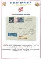 LIECHTENSTEIN 1930 Registrierter Postflug Vaduz - St. Gallen Michel 109 & 111 Nach Zürich - Poste Aérienne
