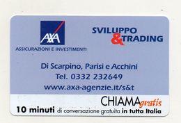 Telecom - Scheda Chiama Gratis - 2002 - AXA - ASSICURAZIONI - 10 Minuti Di Conversazione Gratuita - NUOVA - (FDC7671) - Italy