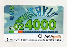 Telecom - Scheda Chiama Gratis - 2001 - AMICO TAXI - 5 Minuti Di Conversazione Gratuita - NUOVA - (FDC7673) - [2] Sim Cards, Prepaid & Refills
