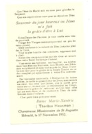 Religion, Image Pieuse - Entrée De Th. Hausman Chez Les Chamoinesses Missionnaires De St Augustin HEVERLE 1952 - Faire-part