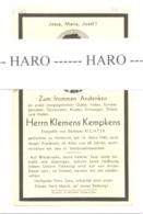 Faire-part De Décès De Klemmens KEMPKENS HOLLERICH 1943 ( G-D De Luxembourg - Obituary Notices