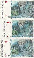 Lot De 3 Billets Echantillon / RAVEL / 1 De 100 Et 2 De 200 / Parfait état. - Ficción & Especímenes