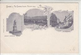 YVERDON 1899 - SOUVENIR DU TIR CANTONAL 1899 - TRI-VUE ,RUE DE LA POSTE , ETC - DOS UNIQUE - N/C - VD Vaud