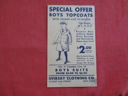 Boys Topcoats With Peaked Cap  $ 2.00  NY   Ref 2810 - Advertising