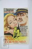 1957 Cinema/ Movie Advertising Leaflet - The Monte Carlo Story - Marlene Dietrich,  Vittorio De Sica,  Arthur O'Connell - Cinema Advertisement