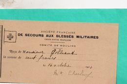 Document- Reçu-Socité Française De Secours Aux Blessés Mlitaires- - Documents