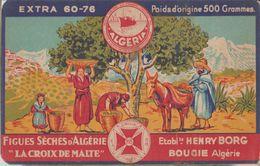 """Carton Publicité Illustré""""La Croix De Malte"""" Ets Henry Borg Bougie Figues Sèches D'Algérie Label Algéria 15x9.5cm - Reclame"""