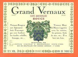 étiquette Vin Grand Vernaux Cuvée Anniversaire Rouge Office Vinicole à Meursanges - 75 Cl - Red Wines