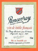 étiquette Vin De Table Rouge Roncevray D Cordier à 54200 - 99 Cl - Red Wines