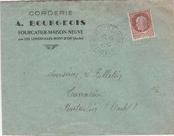 Enveloppe Commerciale 1943 /A. BOURGEOIS / Corderie / Fourcatier Maison Neuve / Par Les Longevilles Mont D'Or / 25 Doubs - Mappe
