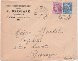 Enveloppe Commerciale 1947 / R. BROUARD / Tissus Confection / Marianne Gandon 4,50 F / Candé / 49 Maine Et Loire - Maps