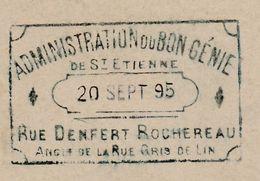 Carte Commerciale 1895 / Entier / Emile Blum / Adm Bon Génie / Meubles / 42 Saint Etienne Fourgueyron / Loire - Mappe