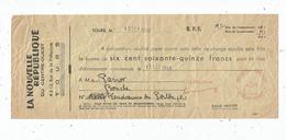 Lettre De Change , La Nouvelle République Du Centre - Ouest , Tours , 1948 ,   Frais Fr : 1.55 € - Bills Of Exchange