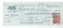 Lettre De Change , Distillerie De La Chaumière , René MASSIA , SAVIGNE , Vienne , 1941 , Frais Fr : 1.55 Euros - Bills Of Exchange