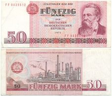 DDR 1971, 50 Mark, Staatsbank DDR, F. Engels, KN 7stellig, Geldschein, Banknote - [ 6] 1949-1990 : RDA - Rep. Dem. Tedesca