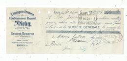 Lettre De Change , Compagnie Fermière De L'établissement Thermal De VICHY ,TOURS, 1937 - Bills Of Exchange