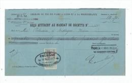 Reçu Afférent Au Mandat De Recette , Chemins De Fer De Paris Et à La Mediterranée , 1921 , , Timbre Fiscal - Factures & Documents Commerciaux