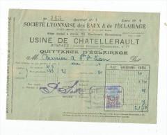 Facture , Société Lyonnaise Des Eaux & De L'éclairage , Usine De CHATELLERAULT , Vienne , Quittance , 1924 - France