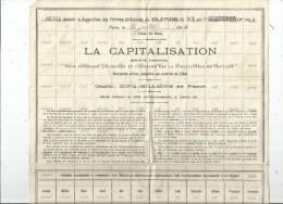 Feuille Destinée à L'apposition Des Timbres Quittances Du Bon D'épargne De 33 Ans , LA CAPITALISATION , 1914 - Actions & Titres