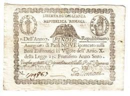 PONTIFICIO REPUBBLICA ROMANA ASSEGNATI 9 PAOLI ANNO 7°  Spl LOTTO 984 - Unclassified
