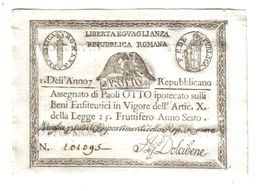 PONTIFICIO REPUBBLICA ROMANA ASSEGNATI 8 PAOLI ANNO 7°  Spl+ LOTTO 971 - Unclassified