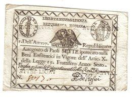 PONTIFICIO REPUBBLICA ROMANA ASSEGNATI 7 PAOLI ANNO 7°  BB+ LOTTO 1766 - Unclassified