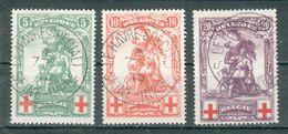 BELGIQUE ;  1914-15 ; Y&T N° 126-127-128 ; Oblitéré - 1914-1915 Croix-Rouge