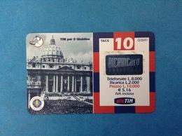ITALIA SCHEDA TELEFONICA RICARICARD TIM USATA USED PHONE CARD - GIUBILEO PIAZZA SAN PIETRO 10.000 LIRE SCAD. OTT 2002 - Italy