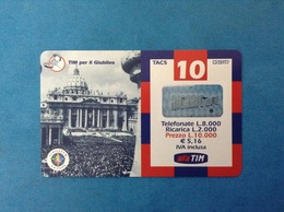 ITALIA SCHEDA TELEFONICA RICARICARD TIM USATA USED PHONE CARD - GIUBILEO PIAZZA SAN PIETRO 10.000 LIRE SCAD. MAR 2003 - Italy