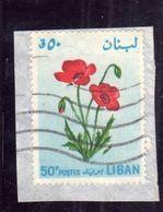 LIBANO LEBANON LIBAN 1964 FLORA FLOWERS FLEURS FIORI POPPY TULIPANO 50p USATO USED OBLITERE' - Libano