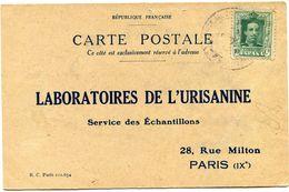 ESPAGNE CARTE POSTALE BON POUR UN FLACON ECHANTILLON D'URISANINE DEPART (SEVILLE) 18-7-25 POUR LA FRANCE - Cartas