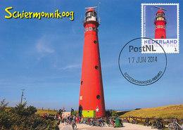 D32356 CARTE MAXIMUM CARD 2014 NETHERLANDS - SCHIERMONNIKOOG PHARE VUURTOREN LIGHTHOUSE CP ORIGINAL - Lighthouses