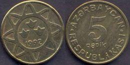 Azerbaijan 5 Qapik 1992 UNC Brass RARE - Azerbaïjan