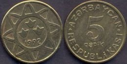 Azerbaijan 5 Qapik 1992 UNC Brass RARE - Azerbaiyán