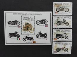 Turks Caicos 1985** Mi.757-60, Bl.62. Motorcycle MNH [21;101] - Motorbikes