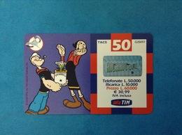ITALIA SCHEDA TELEFONICA RICARICARD TIM USATA USED PHONE CARD - BRACCIO DI FERRO 50.000 LIRE SCAD. LUG 2003 - Italy