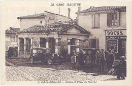 Cpa 30 – Gallargues – Halles Et Place Du Marché ( Automobile, Magasin Docks ) - Gallargues-le-Montueux