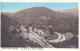 Cpa 34 – Saint-Pons – La Gare Et La Route De Béziers ( Pub Murale Byrrh ) - France