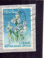 LIBANO LEBANON LIBAN 1964 AIR MAIL POSTA AEREA AERIENNE FLORA FLOWERS FLEURS FIORI TUBEROSE 40p USATO USED OBLITERE' - Libano
