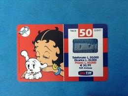 ITALIA SCHEDA TELEFONICA RICARICARD TIM USATA USED PHONE CARD - BETTY BOOP 50.000 LIRE 30M SCAD. APR 2003 - Italy
