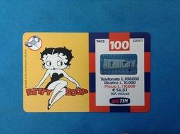ITALIA SCHEDA TELEFONICA RICARICARD TIM USATA USED PHONE CARD - BETTY BOOP 100.000 LIRE 13-O SCAD. MARZO 2002 - Italy