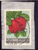 LIBANO LEBANON LIBAN 1964 AIR MAIL POSTA AEREA AERIENNE FRUIT APPLES MELE 40p USATO USED OBLITERE' - Libano