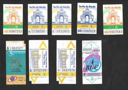Tramway Bus Elevator Lisbonne Carris Portugal 9 Billets Circa 1995 Lisbon Tram Bus Elevator 9 Tickets - Europa