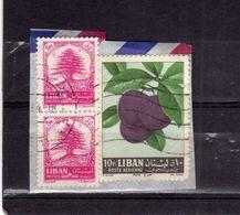 LIBANO LEBANON LIBAN 1964 AIR MAIL POSTA AEREA AERIENNE FRUIT APPLES PLUMS PRUGNE 70p USATO USED OBLITERE' - Libano