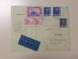 1940 Spain Nice 6 Stamps Air Mail Letter To Hungary   (002) - 1931-50 Covers